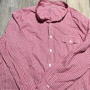 J. Crew red and white button down size XL